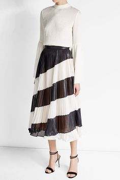 Pleated Diagonal Stripe Midi Skirt | Marco de Vincenzo