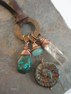 Gemstone and Leather Necklace Long Leather Copper by esdesigns65, $60.00