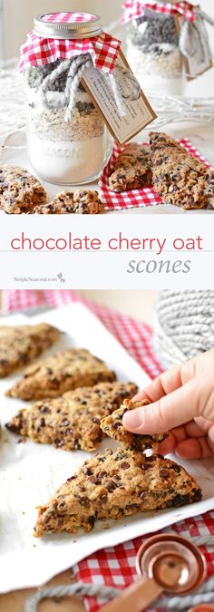 This DIY mason jar holiday gift is budget friendly and makes a batch of easy and delicious chocolate cherry oat scones!