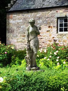 Antique statuary in rose garden by Herald Nicholson Garden Design  www.heraldnicholson.co.uk