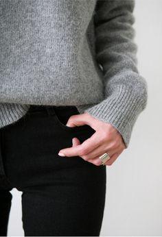 light grey sweater, black skinnies