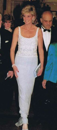 Princess Diana, 1996, Arriving At Harrods For Dinner With Mohamed Al Fayed.  He Was Hosting A Fund Raising For Heart Research At Papworth Hospital.