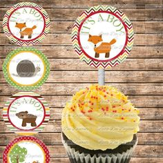 It's a Boy - Baby Shower Cupcake Toppers - Printable - Woodland Forest Animal - Instant Download - http://babyshowercupcake-toppers.com/its-a-boy-baby-shower-cupcake-toppers-printable-woodland-forest-animal-instant-download/
