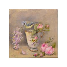 Baby bluetit  roses & Sevres porcelain cup   by LeMarcheAuxFleurs, $130.00