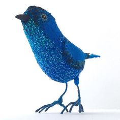 A new blue bird!#birdsculpture #softsculpture #bird#embroidery…