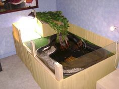 indoor pond for turtles elevated container Turtle Aquarium, Turtle Pond, Turtle Care, Pet Turtle, Turtle Setup, Turtle Enclosure, Pet Goldfish, Indoor Pond, Turtle Homes