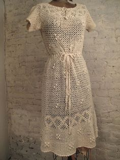 60s+Ecru+Crochet+Dress++All+Handmade+by+ChelseaGirlNYC+on+Etsy,+$90.00