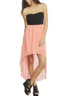 Pink Strapless Chiffon High Low Dress