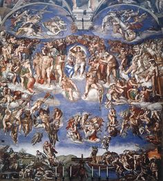 Michelangelo Buonarroti Sistine Chapel - Last Judgment, , Sistine Chapel, Vatican. Read more about the symbolism and interpretation of Sistine Chapel - Last Judgment by Michelangelo Buonarroti. Italian Renaissance Art, Renaissance Kunst, High Renaissance, Renaissance Paintings, The Last Judgment Michelangelo, Famous Artists, Great Artists, Michelangelo Paintings, Art Ninja