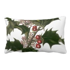 Vintage Christmas Holly Plant with Red Berries Pillow