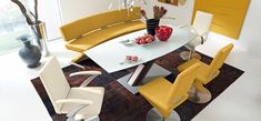 8-modern-yellow-leather-dining-set