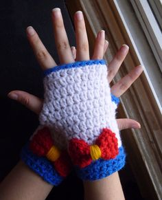 Sailor Moon Fingerless Gloves by ShopOfManyThings on Etsy