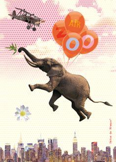 Héros de France, french stationery, papeterie, elephant flying, ballon, illustration