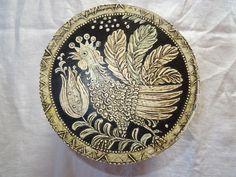 Round Brides Box From Germany. -- Alte handbemalte Spanschachtel, Bauernmalerei, Volkskunst, aufgelegte Malerei 1.