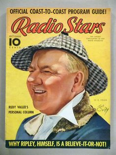 Radio Stars Magazine October 1937 W C Fields Cover by Earl Christy
