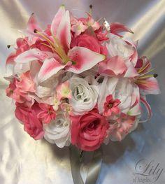 17pcs Wedding Bridal Bouquet Flower Bride Decorationn Package FUCHSIA WHITE LILY. $199.99, via Etsy.