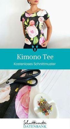 Té kimono Kimono Shirt, Kimono Diy, Kimono Pattern, Top Pattern, Sewing Patterns Free, Clothing Patterns, Sewing Ideas, Stitching Patterns, Knitting Patterns
