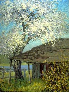 Frederick Childe Hassam - American (1859 - 1935), Impressionist, Landscape (trees, shed, blossom)