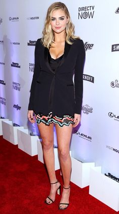 Kate Upton in a Versace mini dress and tuxedo jacket