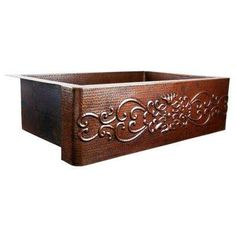Pauling Farmhouse Apron Front Handmade Pure Copper 22 in. Single Bowl Kitchen Sink with Scroll Design