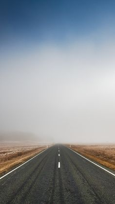 Endless-Road-Fog-iPhone-Wallpaper
