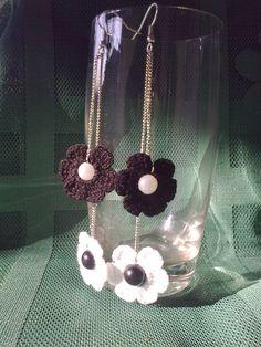 crochet earrings crochet flower earrings crochet by JewelrySpace