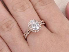 This Moissanite engagement ring Vintage engagement ring set Diamond is just one of the custom, handmade pieces you'll find in our engagement rings shops. Dream Engagement Rings, Engagement Ring Settings, Vintage Engagement Rings, Wedding Engagement, Oval Engagement, Platinum Engagement Rings, Engagement Ideas, Vintage Rings, Gold Diamond Wedding Band