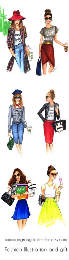 Fashion sketches of street style fashion bloggers using copic markers by Houston fashion illustrator Rongrong DeVoe, more fashion art and gift for fashionistas on www.rongrongillustration.etsy.com