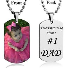 Personalized Custom Photo Color and Engraved Dog Tag Necklace Pendant 24 in Stainless Steel Chain Giftpouch and Keyring Customized Message.More info for simple necklaces for women;fashion necklaces;costume jewelry necklaces;chunky necklaces;cute necklaces for her could be found at the image url.(This is an Amazon affiliate link and I receive a commission for the sales)