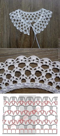 """Really pretty collar,and one of the easier ones to crochet! [ """"Really pretty collar,and one of the easier ones to crochet!"""", """"Ez is gallér"""", """"Crochet lace with chart"""" ] # # # # # # # # # Crochet Collar Pattern, Col Crochet, Crochet Lace Collar, Crochet Diagram, Crochet Chart, Thread Crochet, Crochet Motif, Lace Knitting, Crochet Doilies"""