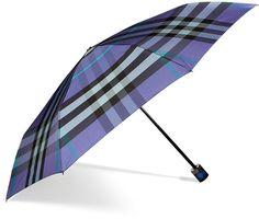 BURBERRY  Iris Blue Check Folding Umbrella