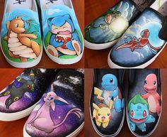 CUSTOM hand painted Pokemon shoes by elefantesgalopantes on Etsy - I want the Umbreon/Espeon ones!