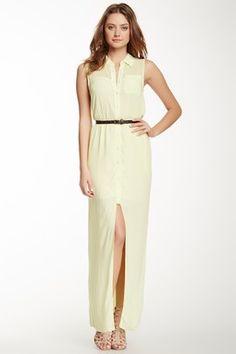 Sleeveless Hi-Lo Maxi Shirt Dress
