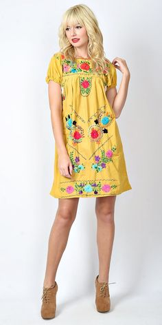 Vtg 70s Yellow Vivid Mexican Dress Oaxacan by thekissingtree