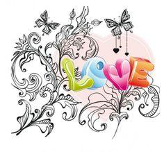 Love Swirls Ornaments Vector Card