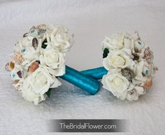 4 piece set - Malibu blue seashell bouquet set with bridal and bridesmaid bouquet with cream roses for beach and destination wedding