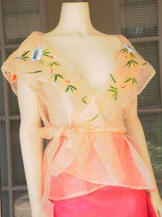 Filipiniana Ready-to-ship from USA Wrap-Around Handpainted Free Cream/Pinia Modern Filipiniana Dress, Filipiniana Wedding, Traditional Fashion, Traditional Dresses, Cute Dresses, Formal Dresses, Formal Wear, Filipino Fashion, Philippines Fashion