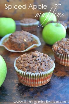 Spiced Apple Muffins (with hidden source of protein), lentils and oats make these naturally gluten free, vegan or not. So moist and fluffy.  Www.theorganicdietitian.com
