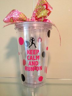 Great Keep Calm and Run On Acrylic  Tumbler  by DancingWorkbench, $9.95