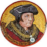 Sir Thomas More (/ˈmɔr/; 7 February 1478 – 6 July 1535), known to Roman Catholics as Saint Thomas More since 1935,[1][2] was an English lawyer, social philosopher, author, statesman, and noted Renaissance humanist. He was an important councillor to Henry VIII of England and Lord Chancellor from October 1529 to 16 May 1532.[3] More opposed the Protestant Reformation, in particular the theology of Martin Luther and William Tyndale, whose books he burned and followers he persecuted.