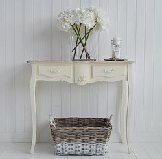 Regency Cream console with drawers for hall. Console tables and hallway furniture to furnish your hall. From Country to Coastal, French to New England, you will find hall furniture to suit your home from The White Lighthouse. Order online with fast delivery.