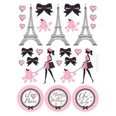 4 sticker sheets with 22 stickers on each sheet. Say Merci with Paris Party Stickers! Our Paris Party Supplies feature a The Eiffel Tower, a beautiful girl and French poodles in pink and and black. Party Decoration, Craft Party, Princess Party Games, Parisian Party, Paris Birthday Parties, Tour Eiffel, Pink Poodle, Paris Theme, Unicorn Party