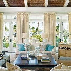 Love the soft colors in this living room. From Coastal Living via House of Turquoise. Coastal Living Rooms, Home And Living, Living Room Decor, Living Spaces, Small Living, Bedroom Decor, Dining Room, Decor Room, Design Bedroom