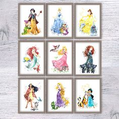 Disney princess print Set of 9 Disney watercolor wall decor
