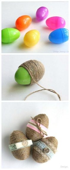 Easy DIY Rustic String Plastic Easter egg craft idea for kids usig dollar store items. The Best Easy DIY Easter Decoration Ideas.