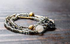 Beaded stretch bracelets, #bohemian bracelets, rustic bracelet,seed bead bracelet,grey glass bracelet,metallic stretch bracelet #jewelry