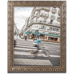 Trademark Fine Art Paris Bicycle Rider Canvas Art by Yale Gurney, Gold Ornate Frame, Size: 16 x 20