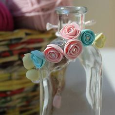Bracelet with hand-made polymer clay roses