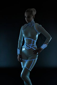 PVC with Luminescent Icy Blue Glowing Trim Thigh Corsets @ ArtificeClothing. Get it @ http://www.etsy.com/shop/ArtificeClothing