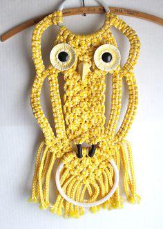 vintage macrame OWL towel rack // yellow wall by RedTuTuRetro, $25.00